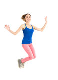 Happy woman jumping Royalty Free Stock Photos