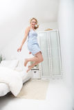 Happy woman jumping for joy Royalty Free Stock Photography