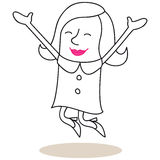 Happy woman jumping with open arms. Vector illustration of a monochrome cartoon character: Happy woman jumping and smiling Stock Images