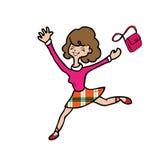 Happy woman jumping purse Stock Photo