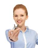 Happy woman with keys Royalty Free Stock Photo