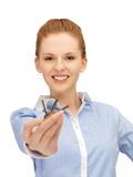 Happy woman with keys Stock Images