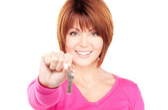 Happy woman with keys Stock Photo