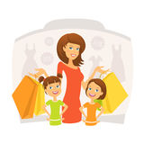 Happy woman with kids on shopping Royalty Free Stock Photography