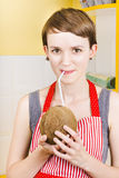 Woman drinking coconut juice Royalty Free Stock Image