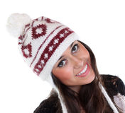 Happy woman in a knitted hat Royalty Free Stock Photography