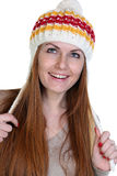 Happy woman in a knitted hat Stock Photo