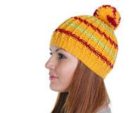 Happy woman in a knitted hat Royalty Free Stock Photos