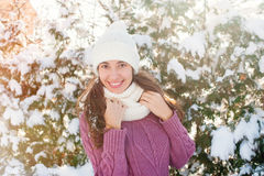 Happy woman in knitted winter cap Stock Images
