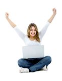 Happy woman with a laptop Stock Photos