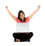 Happy woman with a laptop Stock Images