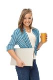 Happy woman with laptop and coffee Stock Photos