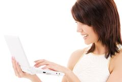Happy woman with laptop computer Stock Photo