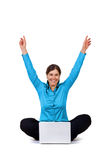 Happy woman with laptop computer Royalty Free Stock Images