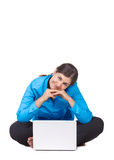 Happy woman with laptop computer Stock Photography