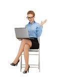 Happy woman with laptop computer. Picture of woman with laptop computer in specs Stock Photos