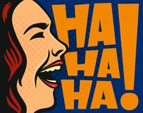 Happy woman laughing. Vector comics illustration style Stock Photography