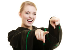 Happy woman lawyer pointing with finger Royalty Free Stock Photo