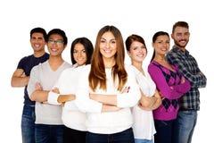 Happy woman leading her happy team. Happy women leading her happy team over white background Stock Image