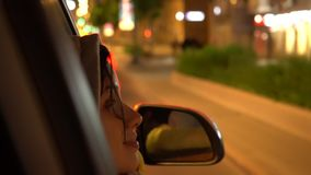 Happy Woman Leans Out Passenger Side Car Window stock video