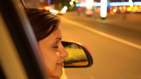 Happy Woman Leans Out Passenger Side Car Window stock video footage