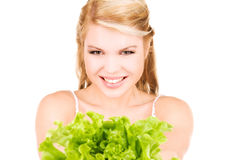 Happy woman with lettuce Stock Photo