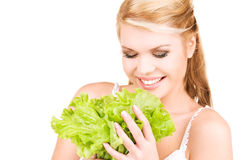 Happy woman with lettuce Stock Photos