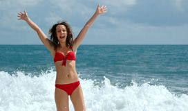 Happy woman with the lifted hands. Happy woman stand at coast with the lifted hands Stock Image