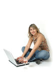 Happy Woman On Line Stock Images