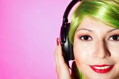 Happy woman listen music Stock Image