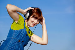 Happy woman listen music Royalty Free Stock Photo