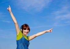 Happy woman listen music Royalty Free Stock Image