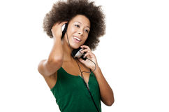 Happy woman listen music Royalty Free Stock Images