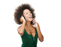 Happy woman listen music Stock Photography