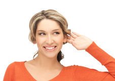 Happy woman listening gossip Royalty Free Stock Images