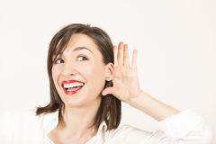 Happy woman listening gossip Royalty Free Stock Photos