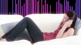 Happy woman listening music with special background Stock Images