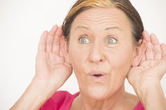 Happy woman listening Royalty Free Stock Image