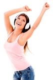Happy woman listening to music Royalty Free Stock Photography
