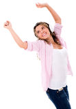 Happy woman listening to music Stock Photography