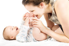 Happy woman with a little baby Stock Image