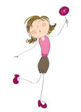 Happy woman with lollipop. Original hand drawn illustration of happy woman with lollipop Stock Photos