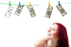 Happy woman look at dollars Stock Photography