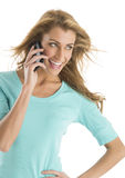 Happy Woman Looking Away While Using Smart Phone Stock Photos