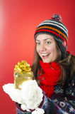 Happy Woman Looking at her Gift Royalty Free Stock Photos