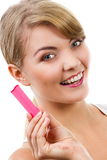 Happy woman looking at pregnancy test with positive result Royalty Free Stock Photo