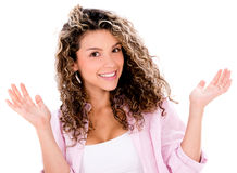 Happy woman looking surprised Royalty Free Stock Images