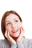 Happy woman looking up Royalty Free Stock Images