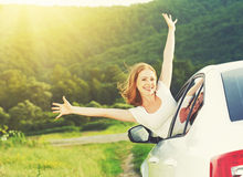 Free Happy Woman Looks Out The Car Window On Nature Royalty Free Stock Photography - 41408707