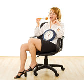 Happy woman in lunch-time. Young beautiful businesswoman is in lunch-time - isolated Stock Photo